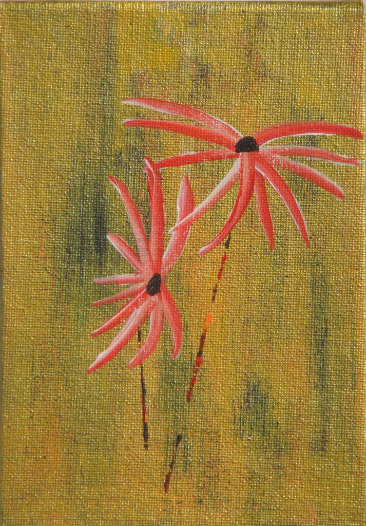 Flowers Red on Gold – Acrylic on board – by Luke McEwen