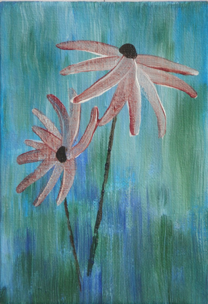 Flowers Pink on Green – Acrylic on board – by Luke McEwen