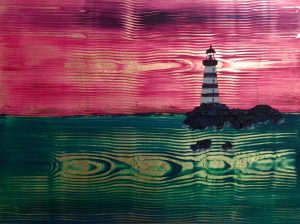 Lighthouse 2 Acrylic on gold leaf