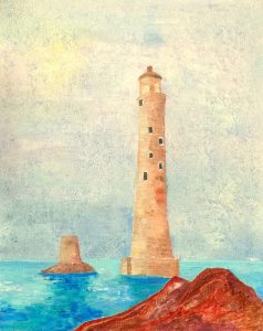 19 09 Eddystone Lighthouse by Luke McEwen - Oil over acrylic 20 x 16 inches